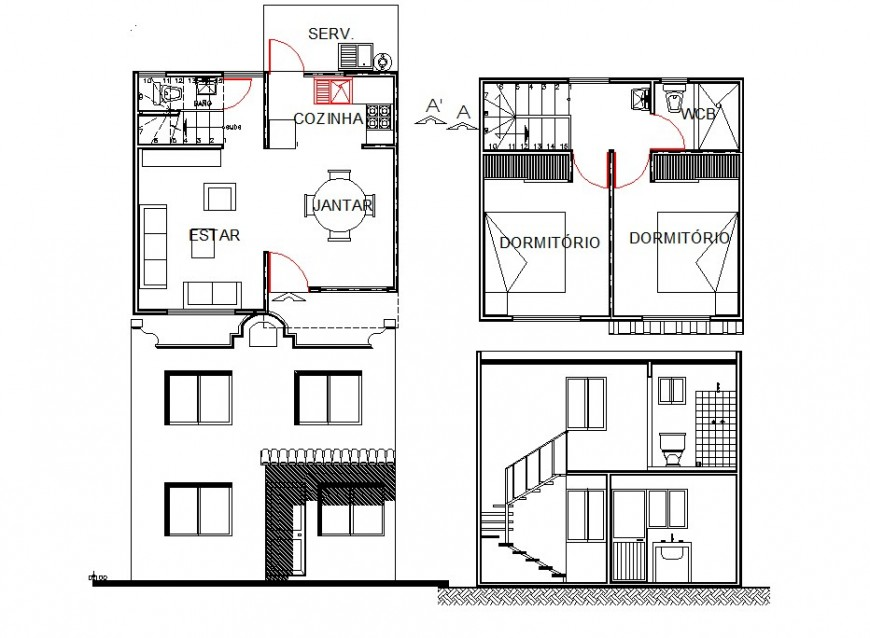 House plan and elevation 2d view CAD block layout file in dwg format