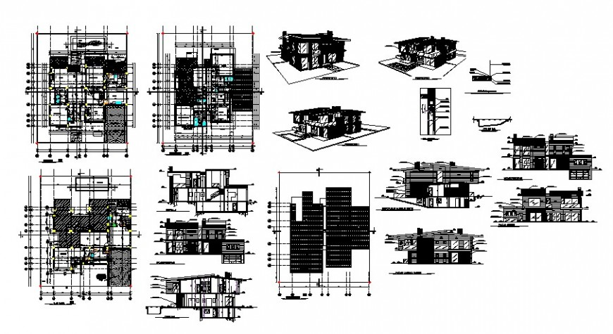 House plan and elevation drawings 2d view autocad file