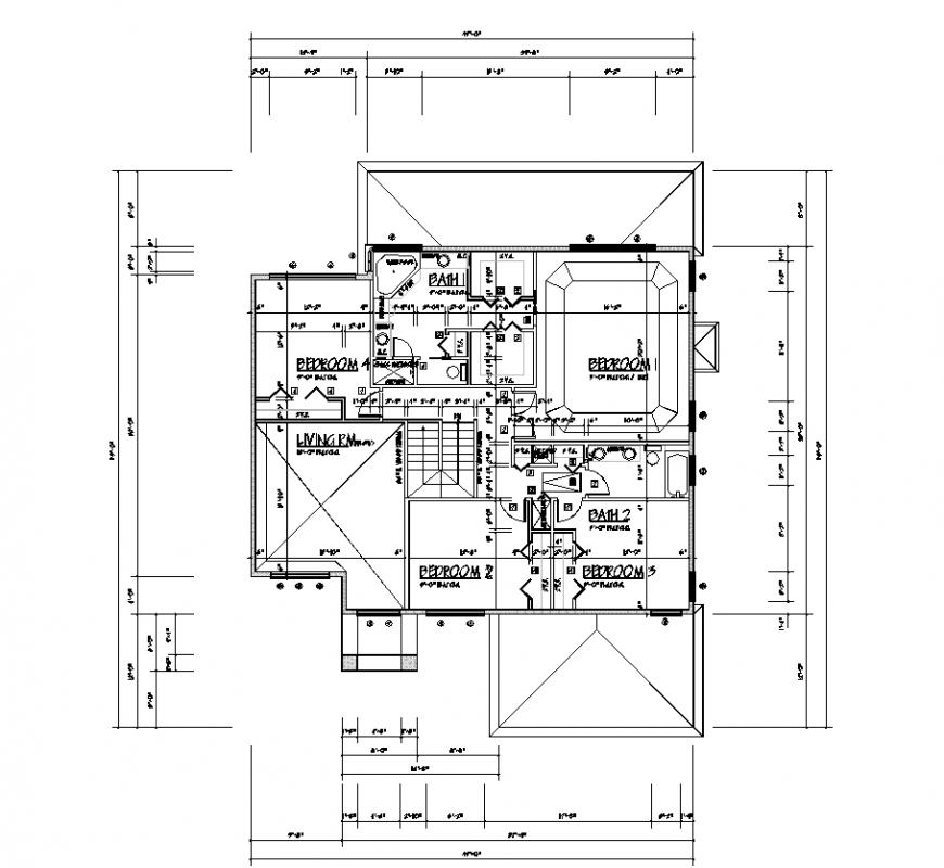 House plan design with architectural detail dwg file