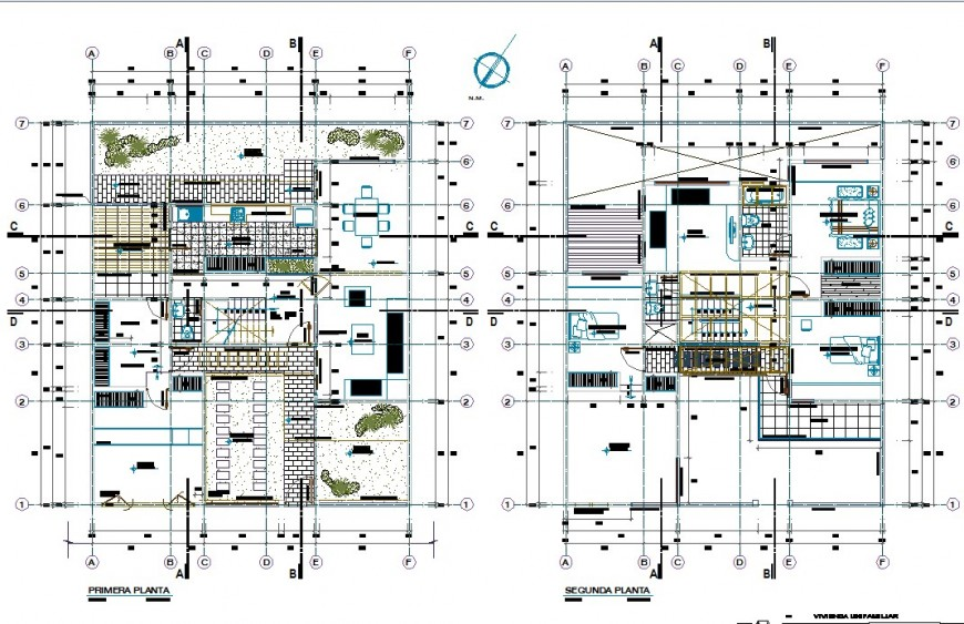 House plan detail 2d view CAD structural block layout file in autocad format