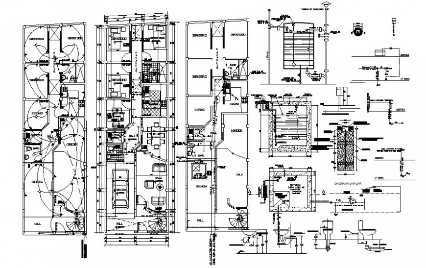 House plan details with electrical installation autocad file