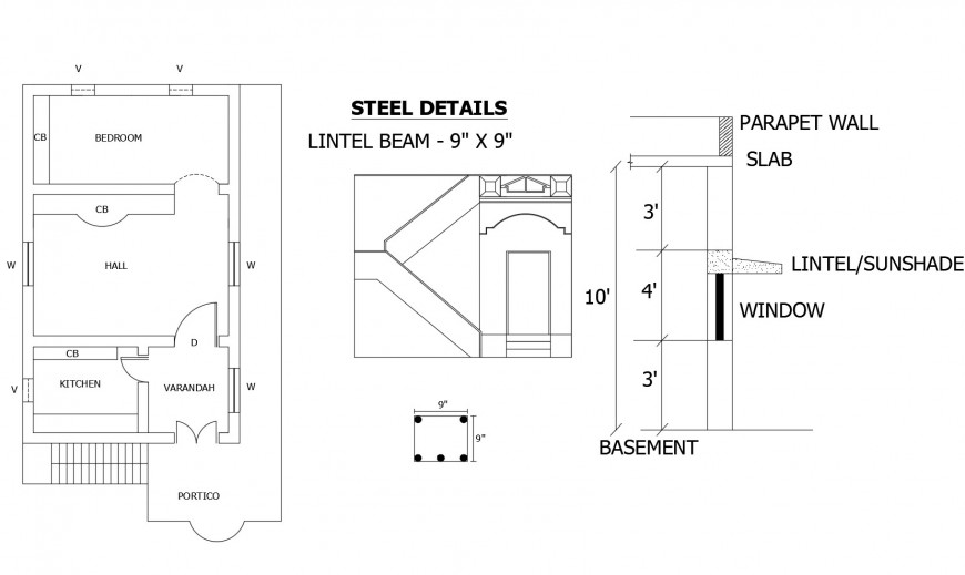 House plan details with lintel beam and parapet wall dwg file