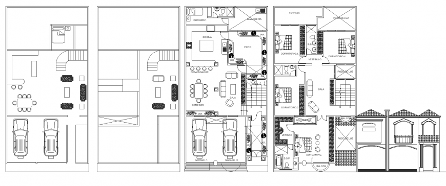 House plan drawing with furniture in dwg file.