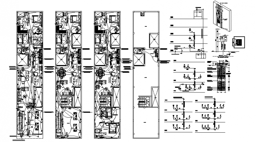 House plan drawings details with electrical installation details autocad file