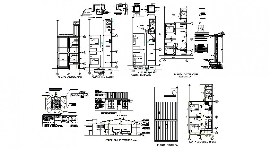 House plan elevation and sectional drawing 2d view dwg file