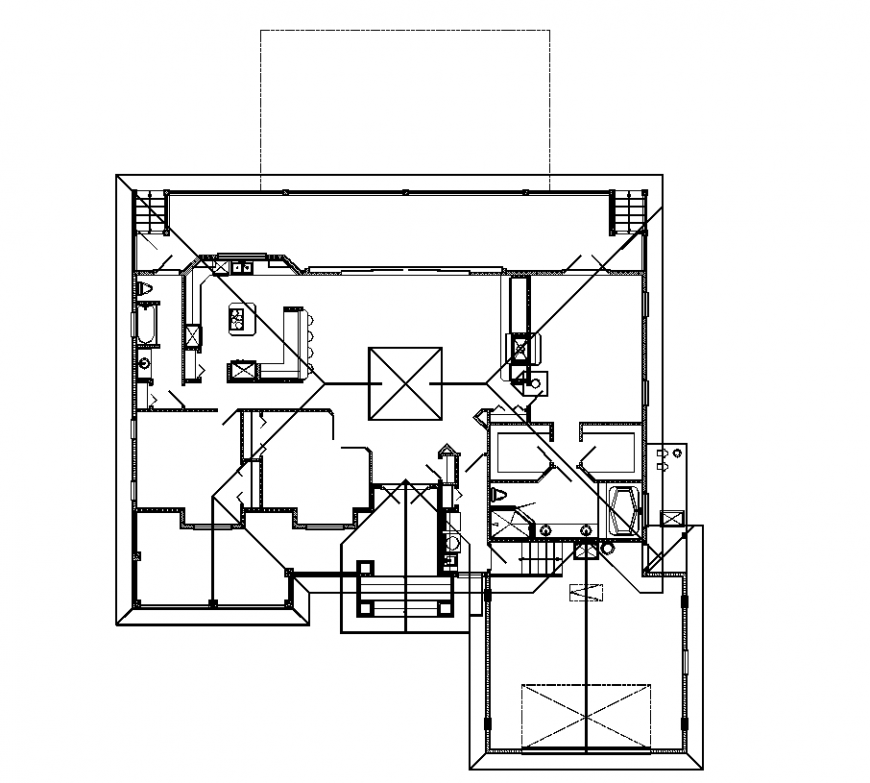 House plan with architecture detail dwg file