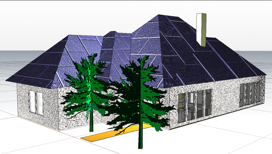 House plan with detail dwg file.