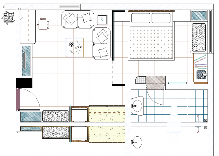 House plan with furnished detail dwg file.