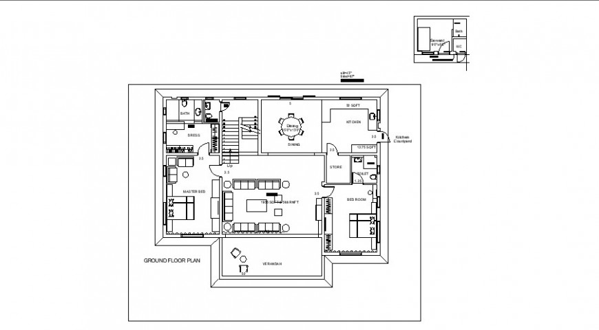 House plan with furniture detail 2d view CAD architectural building autocad file