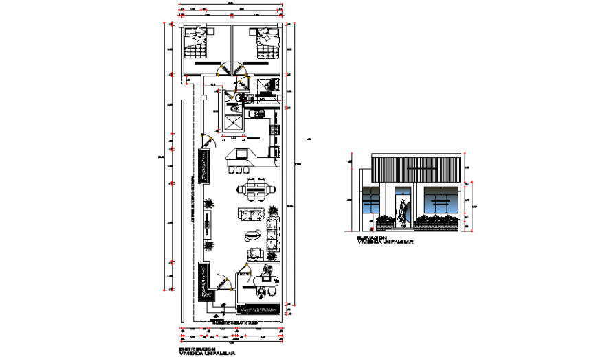 House plan with office plan drawing in dwg file.