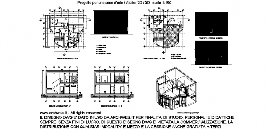 House project with 2d and 3d plan view with architecture view dwg file