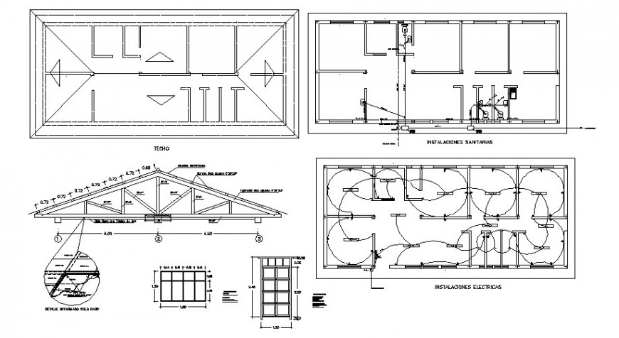 House roof construction, electrical layout and auto-cad details dwg file
