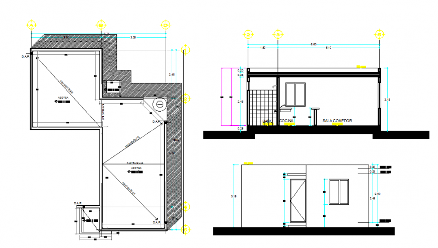 House Roof Detail Plan & Side Section detail