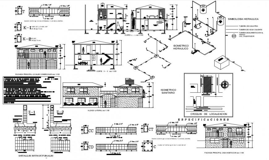 House Room 2 Floors dwg file