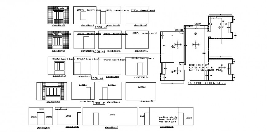 House rooms and area elevations, house plan and auto-cad drawing details dwg file