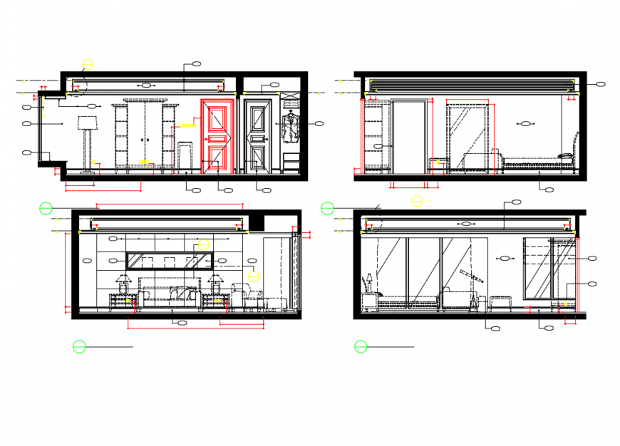 House rooms samples and sectional details cad drawing dwg file