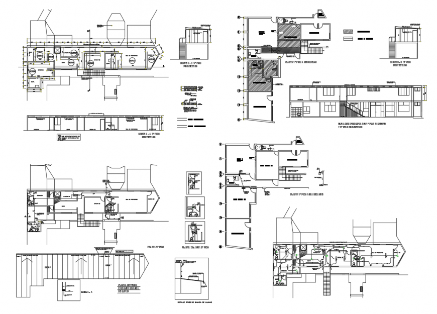 House section, sanitary section, plan, installation and drawing details dwg file