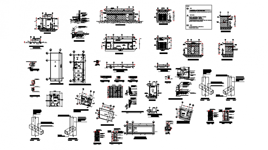House section and several constructive cad drawing details dwg file