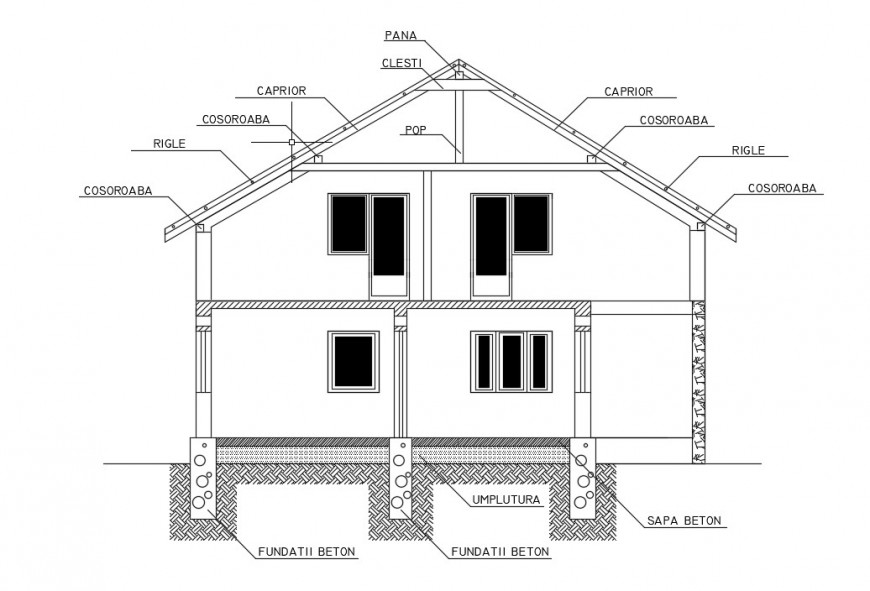 House sectional drawings 2d view layout autocad software file
