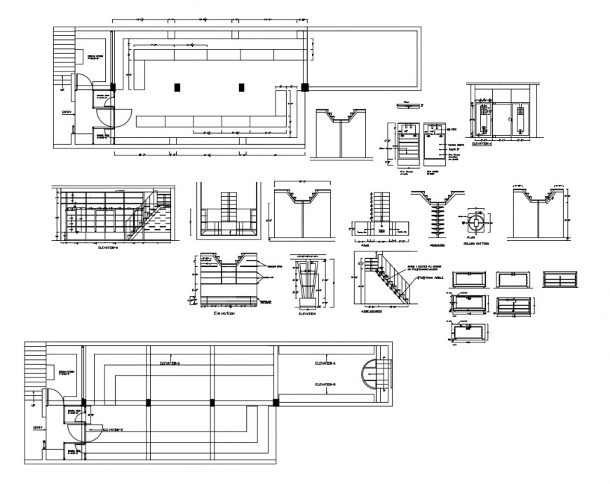 House staircases section and constructive structure cad drawing details dwg file