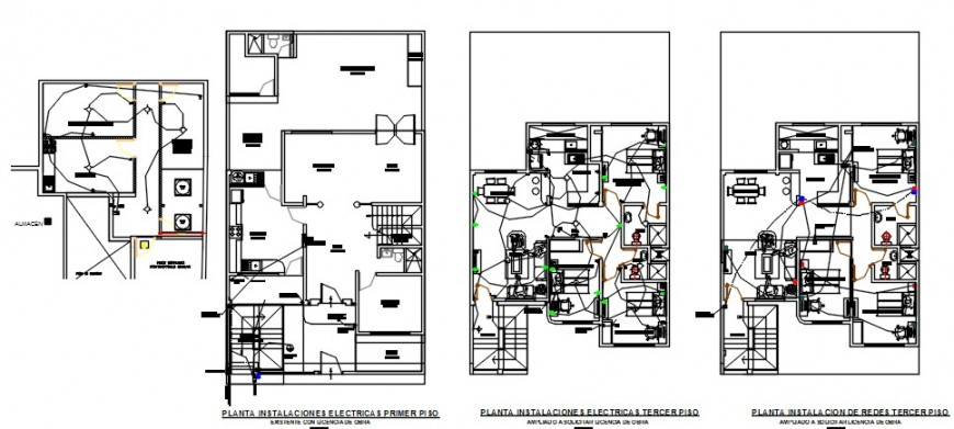 House three story floor plan and electrical installation drawing details dwg file