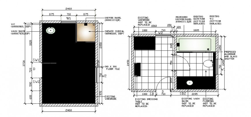House toilet and bathroom top view layout plan cad drawing details dwg file