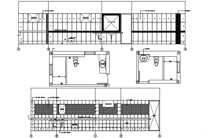 House toilet front and back section, plan and installation details dwg file