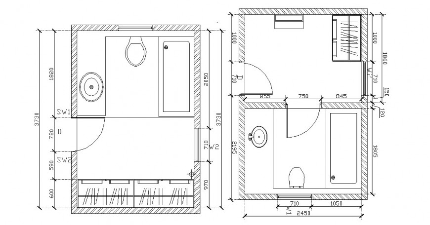 House toilet top view plan and sanitary installation drawing details dwg file