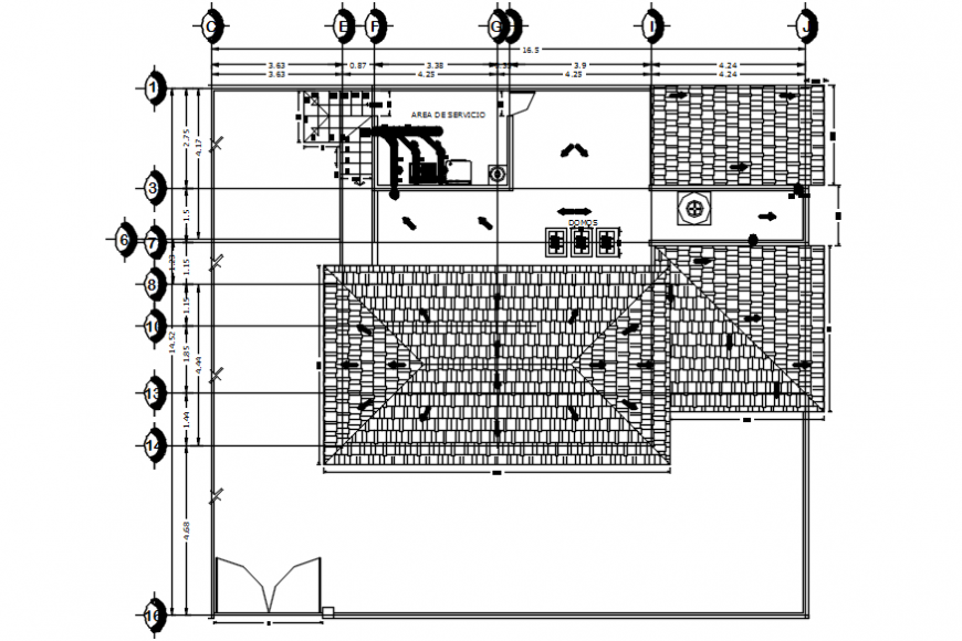 House top floor framing plan structure details dwg file
