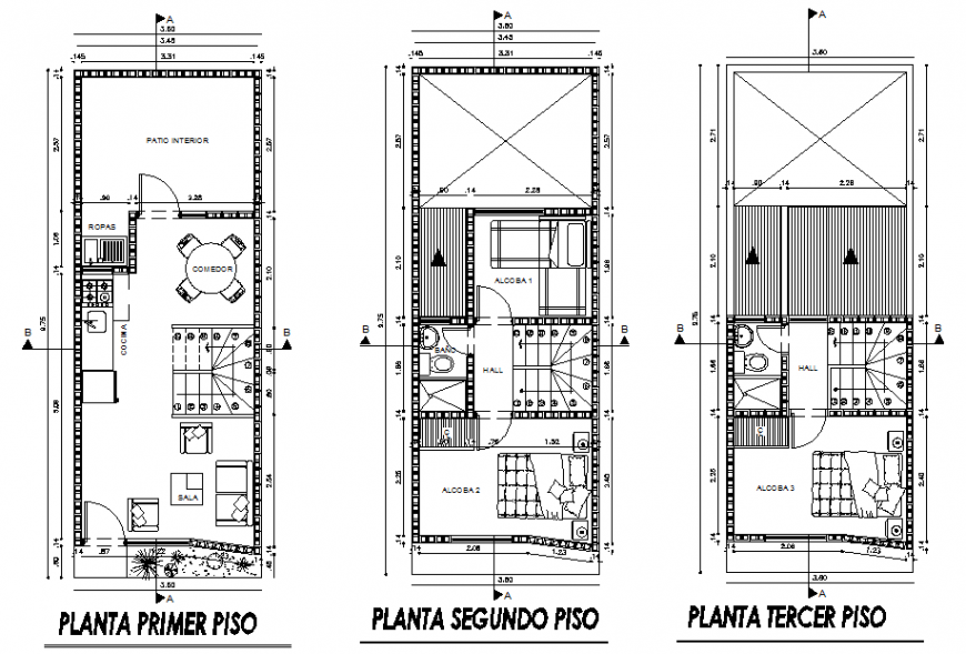 House top view plan dwg