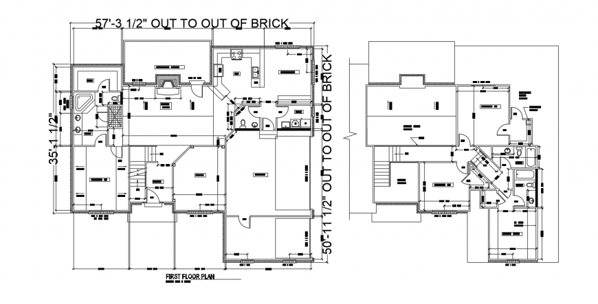 House two floor layout plan cad drawing details dwg file