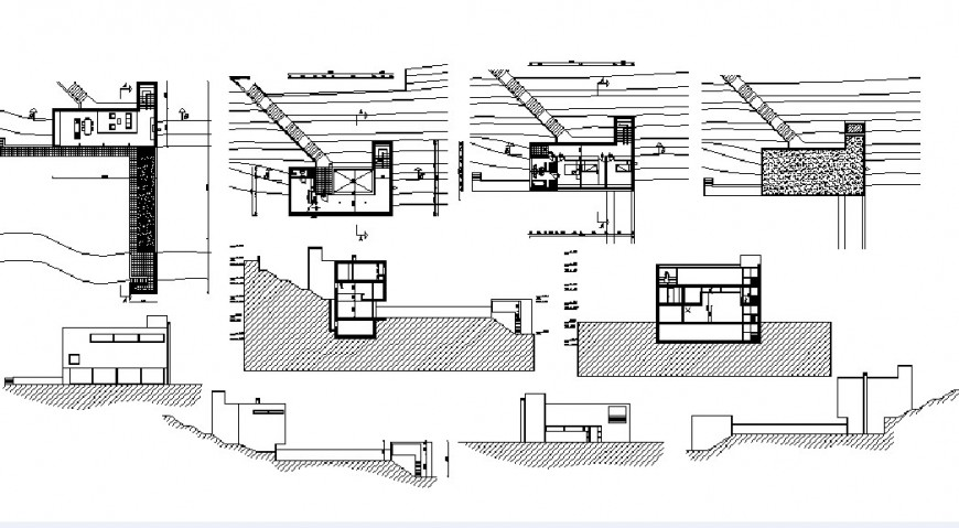 House two level all sided elevation, constructive section and floor plan details dwg file