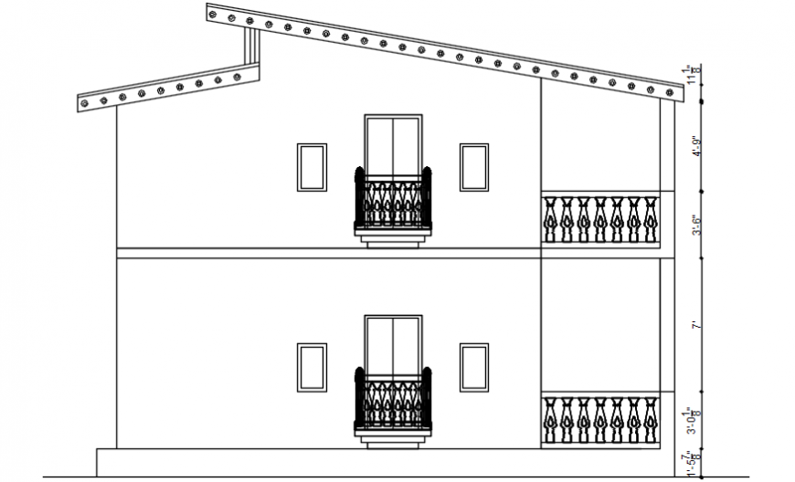 House two level back side sectional drawing details dwg file