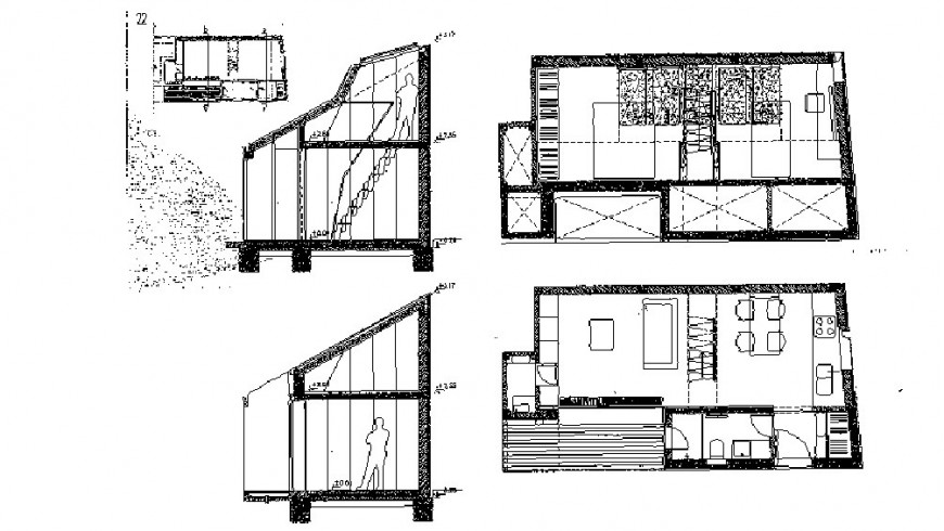 House two level constructive section and floor plan cad drawing details dwg file