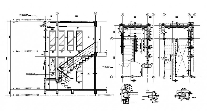 House two level constructive section and structure drawing details dwg file