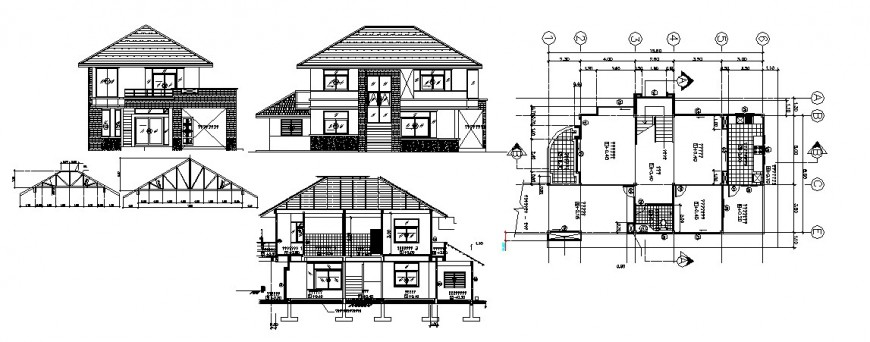 House two level elevation, constructive section, plan and structure details dwg file