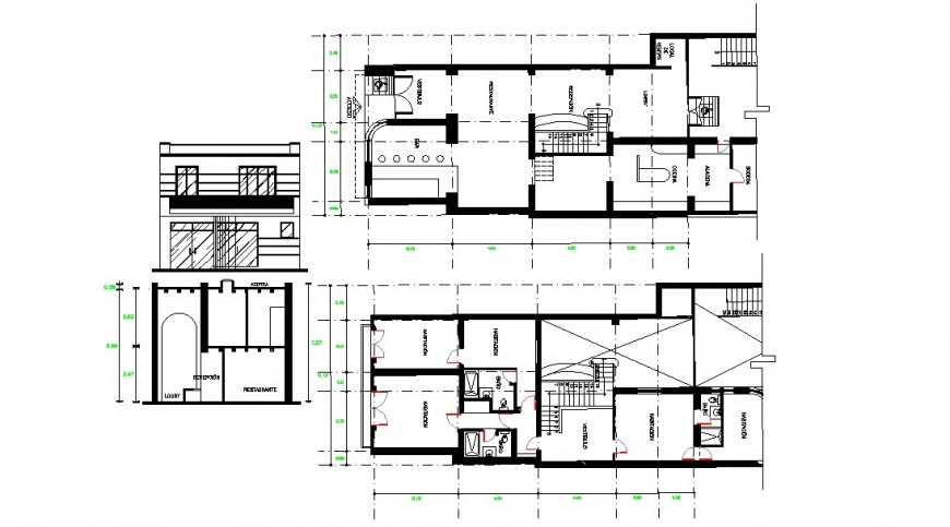 House two level elevation, section and floor plan cad drawing details dwg file