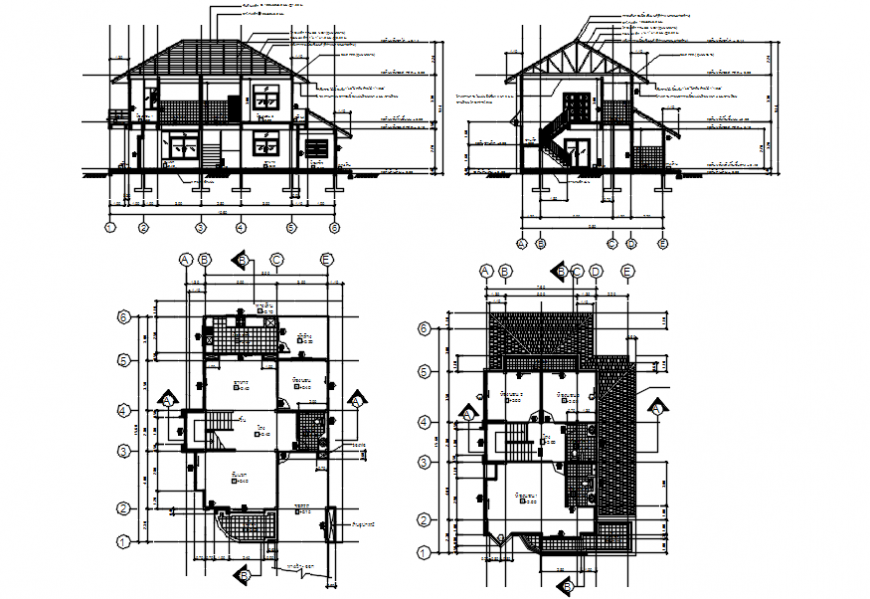 House two level main and back section and floor plan drawing details dwg file