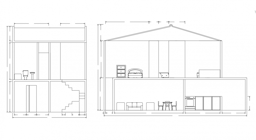 House two level main and side section cad drawing details dwg file