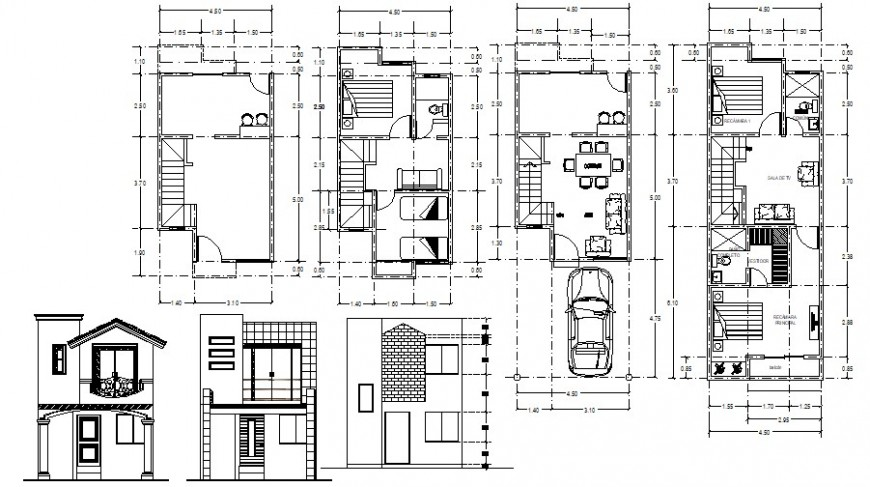 House two level three sided elevation and floor plan drawing details dwg file