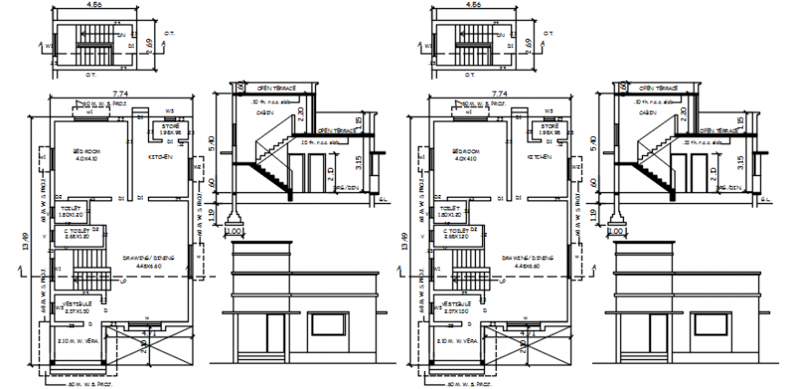House two level unit elevation, section and floor plan details dwg file