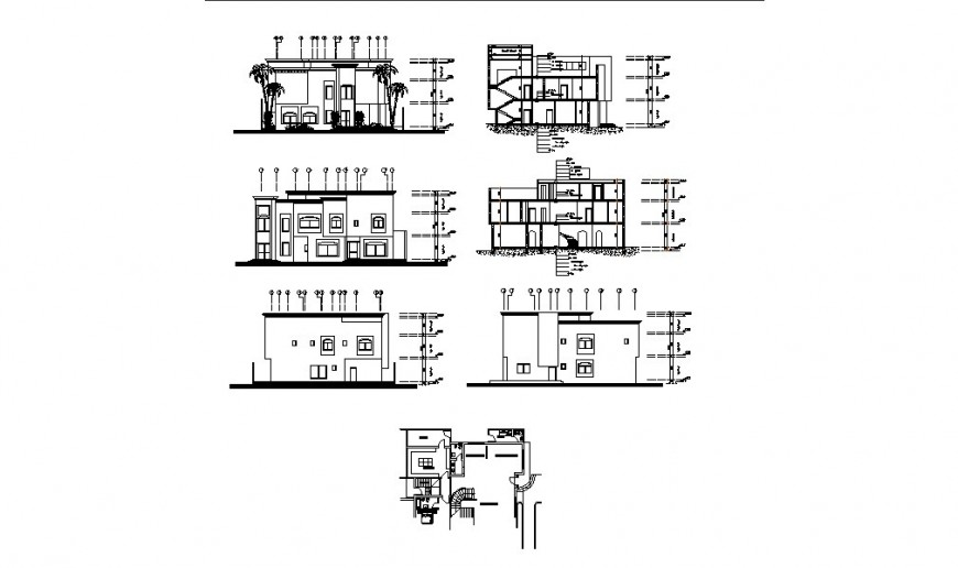 House two story all sided elevation, section and plan cad drawing details dwg file