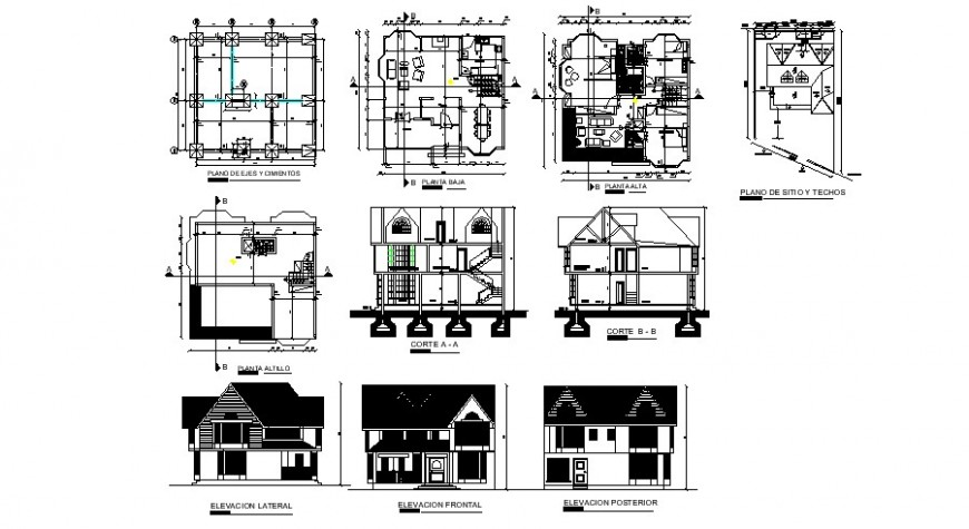 House two story elevation, section, floor plan, foundation and structure details dwg file