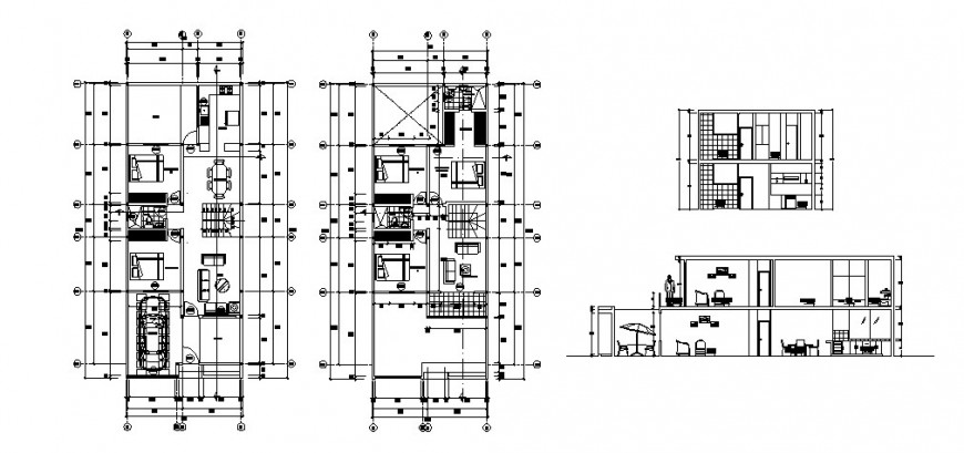 House two story elevation, section and floor distribution cad drawing details dwg file