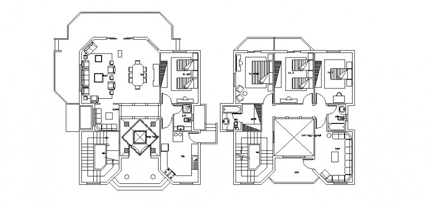 House two story floor plan distribution auto-cad drawing details dwg file