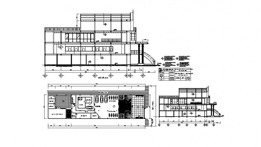 House two story front and back section and plan cad drawing details dwg file