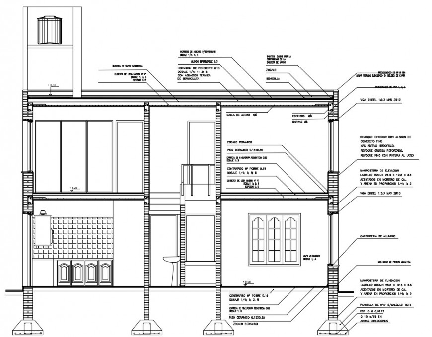 House two story front constructive section drawing details dwg file