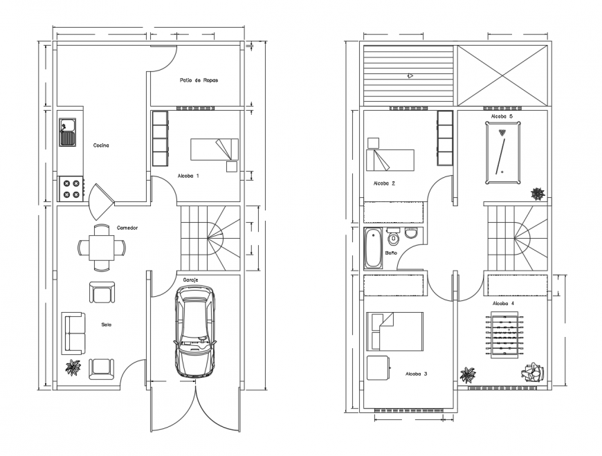House two story ground and first floor plan cad drawing details dwg file