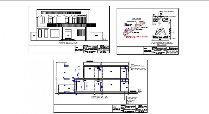 House two story main elevation, section and staircase structure drawing details dwg file