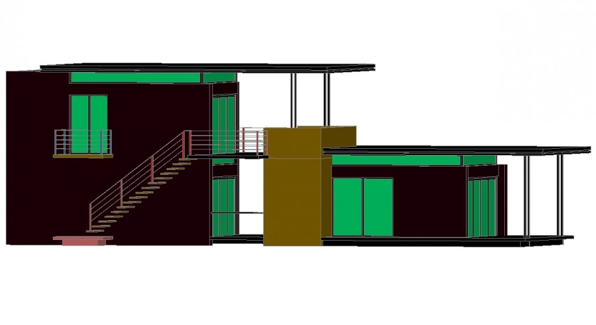 House two story one family 3d model cad drawing details dwg file